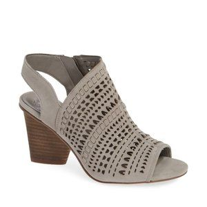 Vince Camuto NEW perforated sandal grey block heel